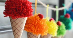 Make yarn pom poms and paper cones in to a bright and colorful DIY ice cream con...