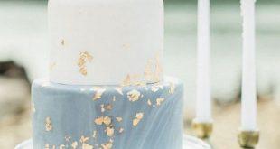 staubiges Blau und Goldfrühlingssommer-Hochzeitstorte - Wedding Ideas - #blau...