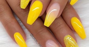 60 Gorgeous Natural Yellow Acrylic Nails Design Spring & Summer in 2019 - Page 16 of 58
