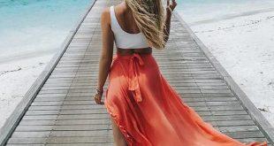 Pretty Falbala Split-front Skirt Bottoms