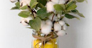 Cotton Stem and Greenery Arrangement in Lemon Filled Mason Jar - Farmhouse Kitchen Decor - Housewarming Gift