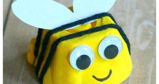 Egg Carton Baby Bee Craft für Kinder: Drehen Sie einen leeren Eierkarton