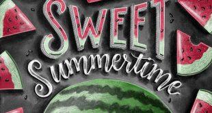 Summer Print, Watermelon Art, Summer Decor, Chalkboard Art, Chalk Art, Watermelon Print, Sweet Summertime, Hello Summer Art